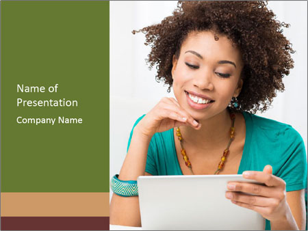 Happy African Woman PowerPoint Template