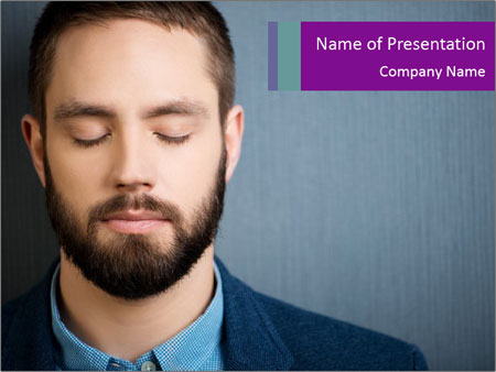 Businessman with eyes closed PowerPoint Template