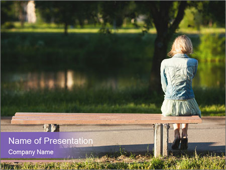 Girl sitting alone PowerPoint Templates