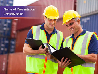 Two harbor workers PowerPoint Template - Slide 1
