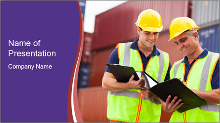 Two harbor workers PowerPoint Template