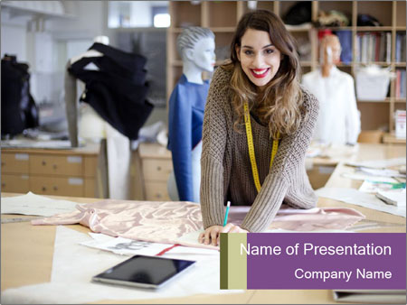 Fashion designer working PowerPoint Templates