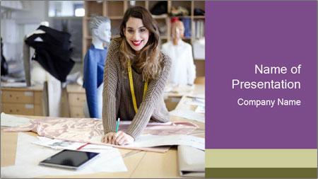 Fashion designer working PowerPoint Template