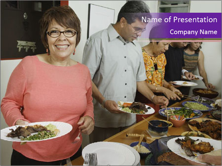 Wman holding a plate of food PowerPoint Template