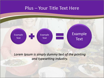Wman holding a plate of food PowerPoint Template - Slide 75