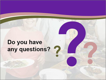 Wman holding a plate of food PowerPoint Template - Slide 96