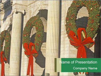 Christmas Wreaths PowerPoint Template - Slide 1
