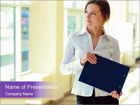 Woman in office PowerPoint Template