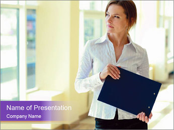 Woman in office PowerPoint Template - Slide 1