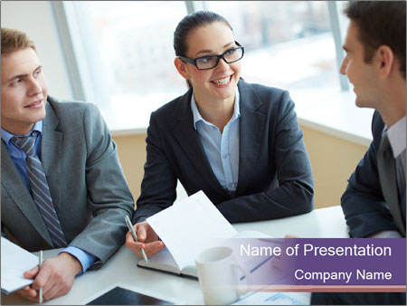 Two employees listening PowerPoint Template