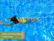 Woman swimming PowerPoint Templates