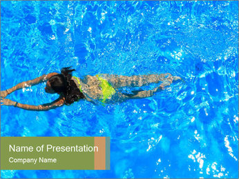 Woman swimming PowerPoint Template - Slide 1