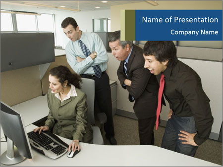 Businesspeople looking PowerPoint Template