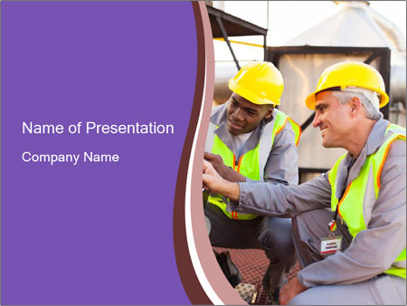 Two petrochemical technicians PowerPoint Template