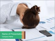 Woman sleeping at work PowerPoint Templates