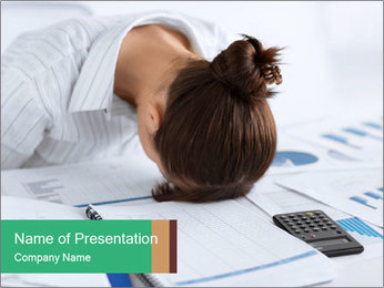 Woman sleeping at work PowerPoint Templates - Slide 1