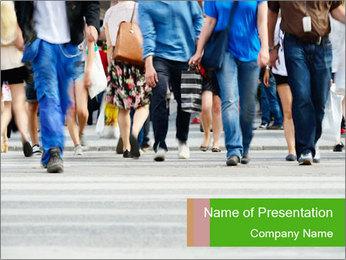 Crossing sunlit street PowerPoint Templates - Slide 1
