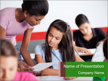 Young teacher assisting PowerPoint Templates