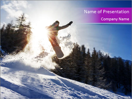 Snowboarder jumping PowerPoint Templates