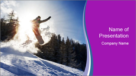Snowboarder jumping PowerPoint Template