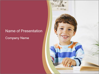 Little boy with a books PowerPoint Templates - Slide 1