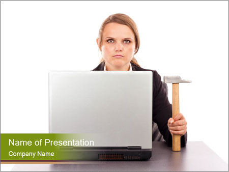 Serious businesswoman PowerPoint Template