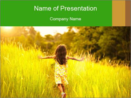 Girl running PowerPoint Template