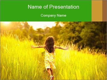 Girl running PowerPoint Template - Slide 1