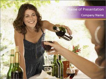 Woman serving red wine PowerPoint Template - Slide 1