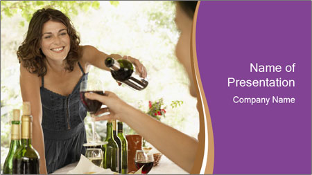Woman serving red wine PowerPoint Template