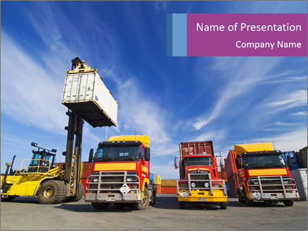 Lift truck loading shipping PowerPoint Template
