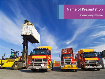 Lift truck loading shipping PowerPoint Template - Slide 1
