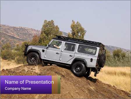 Silver Land Rover Defender PowerPoint Templates