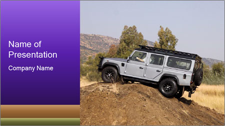 Silver Land Rover Defender PowerPoint Template