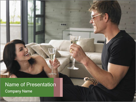 Man and woman drinking champagne PowerPoint Template