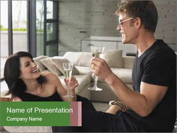 Man and woman drinking champagne PowerPoint Template - Slide 1