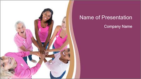 Happy women wearing pink PowerPoint Template
