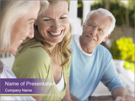 Two cheerful middle aged women PowerPoint Template