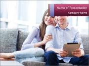 Couple on sofa PowerPoint Templates