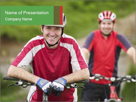 Smiling cyclists PowerPoint Template