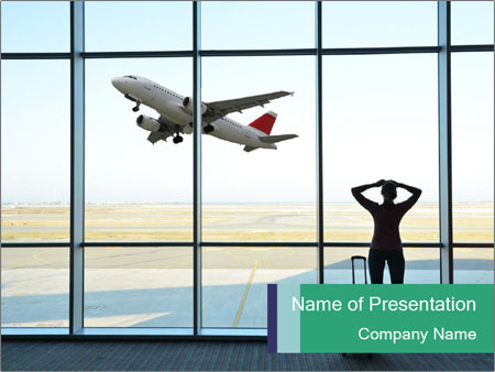 Girl at the airport PowerPoint Template