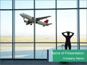 Girl at the airport PowerPoint Templates