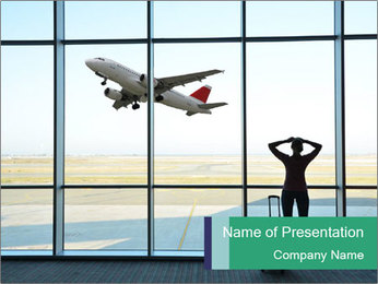 Girl at the airport PowerPoint Template - Slide 1