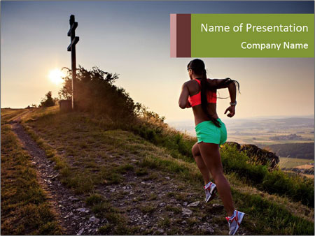A young woman running PowerPoint Template