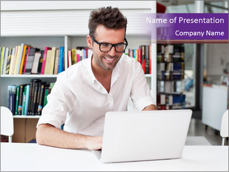 Happy man working PowerPoint Template