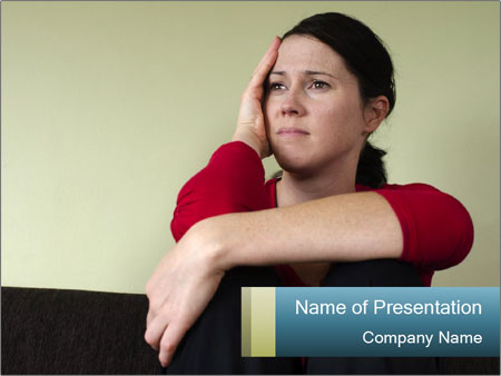 Portrait of sad woman PowerPoint Templates