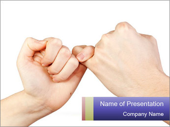 Man and woman making a pinkie promise PowerPoint Template - Slide 1
