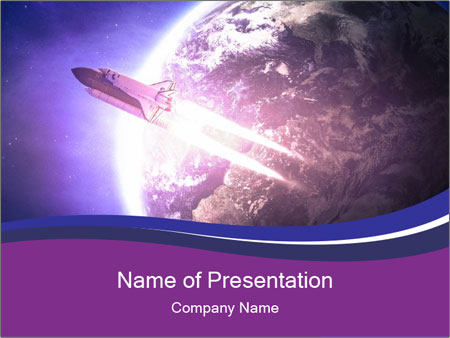 Space shuttle taking off on a mission PowerPoint Templates