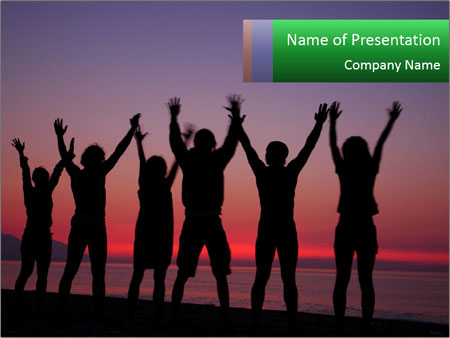 Silhouettes in sunset PowerPoint Template