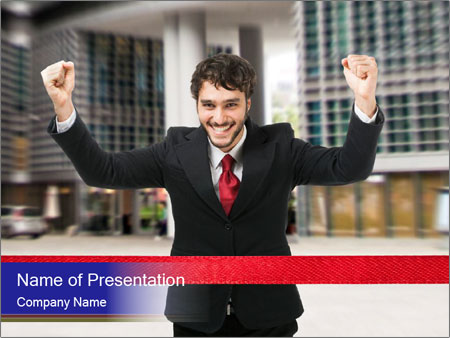Active businessman running PowerPoint Templates